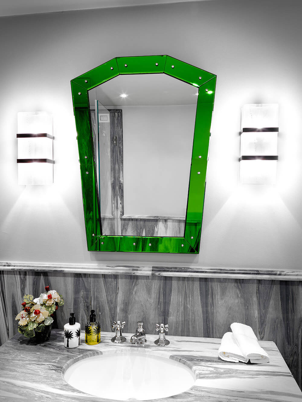 Venice - Bathroom - Grey Stone - Green Mirror