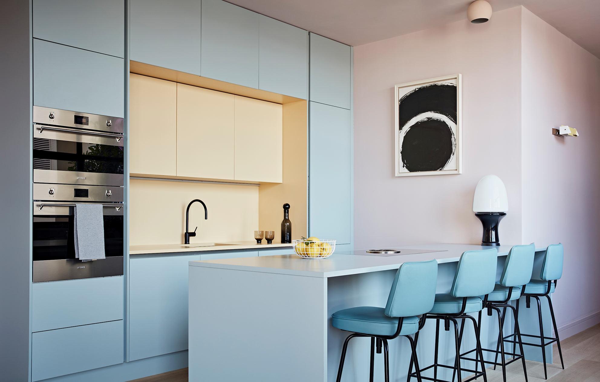 West London pied-a-terre pastel kitchen