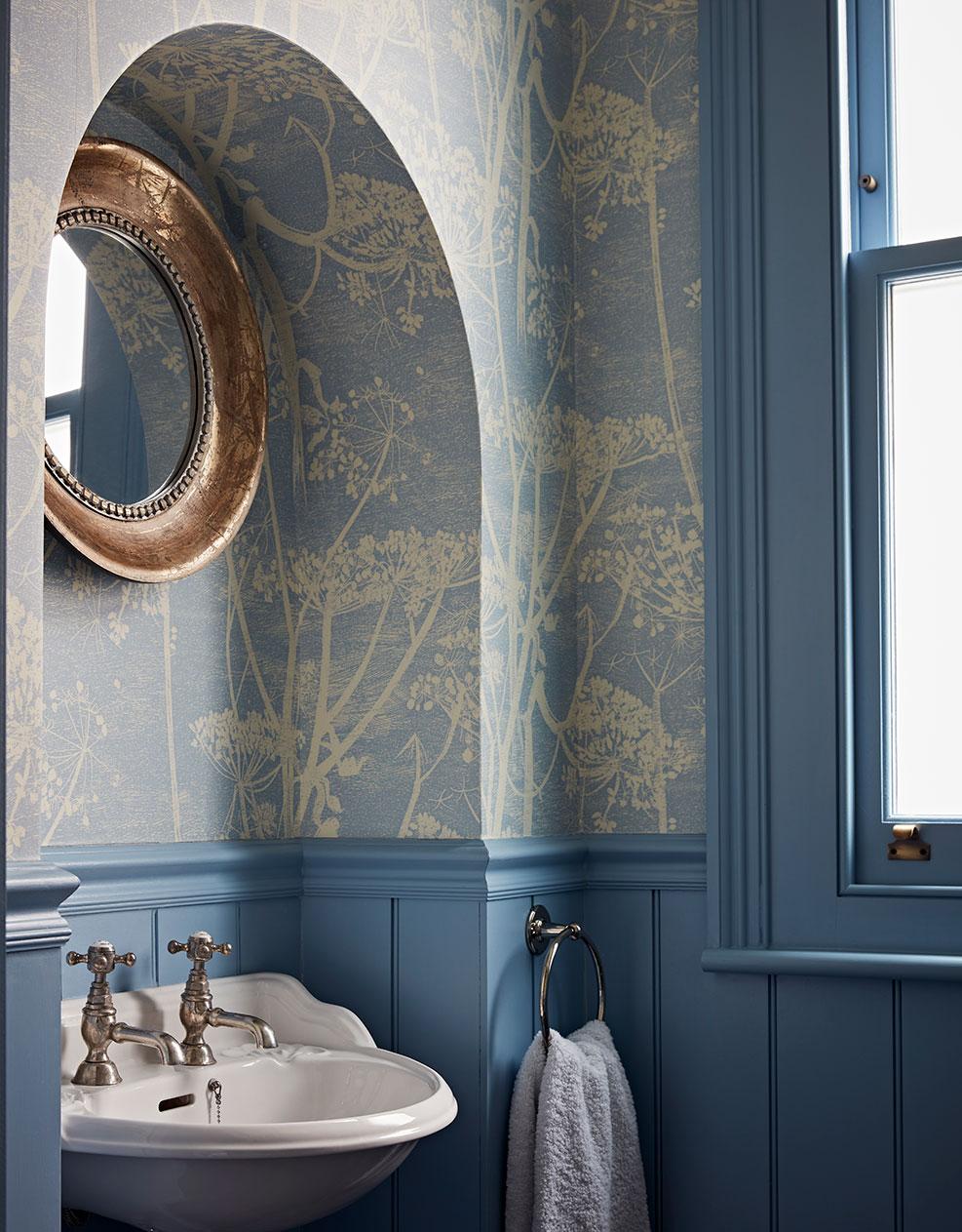Luxury interior design of London home in blue tones