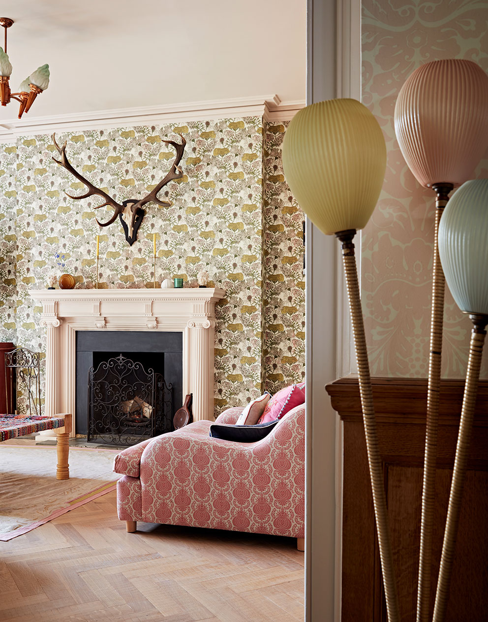 Fun pastel hues in bespoke interior designed house in Hampshire